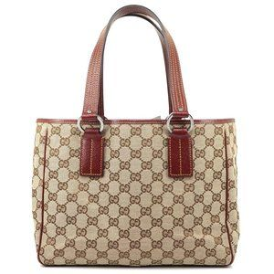 Auth Gucci Tote Bag Brown Canvas #988G15